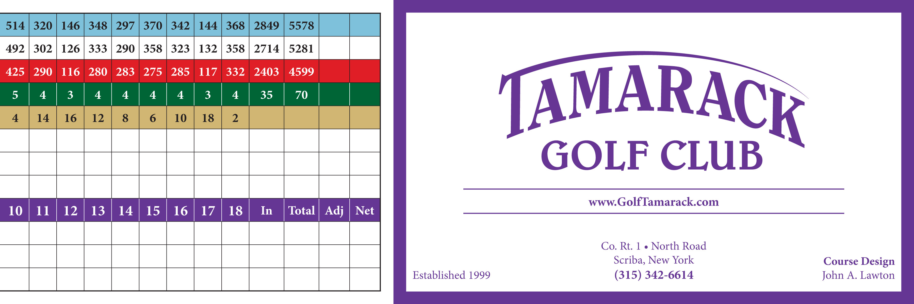 Image of the back of the score card at Tamarack Golf Club in Oswego, NY.
