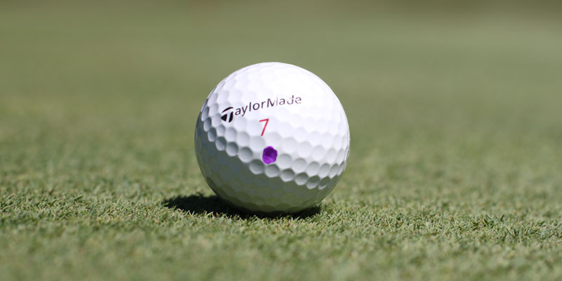 Photo of TaylorMade Penta golf ball with a purple dot at Tamarack Golf Club in Oswego, NY.